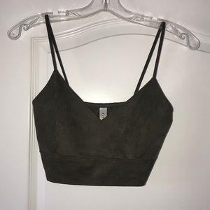 Amazing Lace Tops - Olive Suede Cami Crop Top